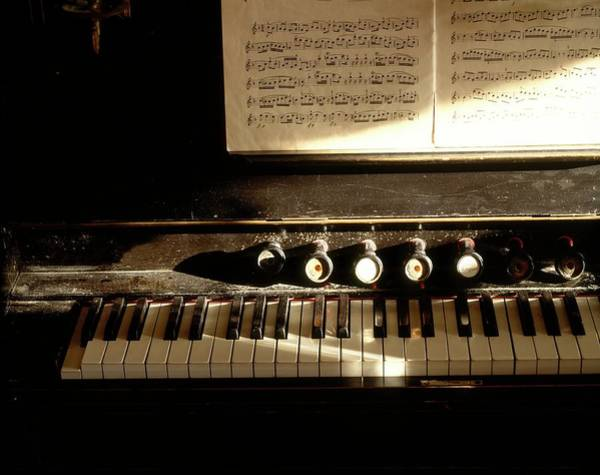 Pipe Organ Photograph - An Old Organ And Music Sheets by Lars Dahlstrom