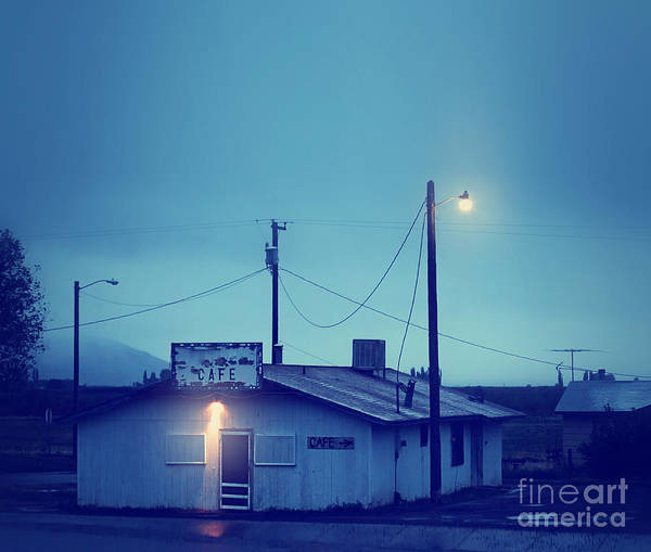 Route Photograph - An Old Run Down Cafe During A Storm by Annette Shaff