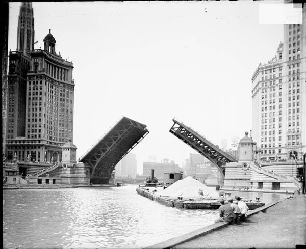 Chicago Photograph - An Open Drawbridge On The Chicago River by Chicago History Museum