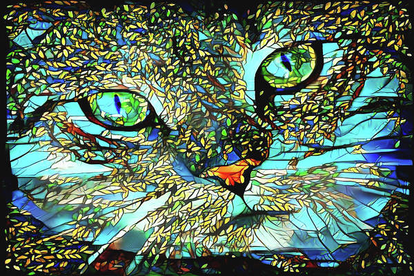 Digital Art - An Outdoorsy Cat by Peggy Collins