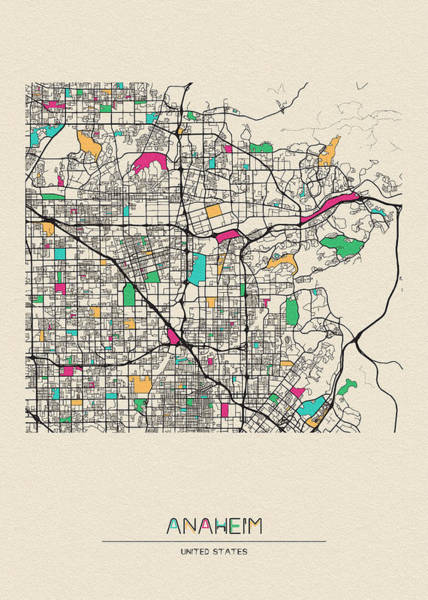 Wall Art - Digital Art - Anaheim, California City Map by Inspirowl Design