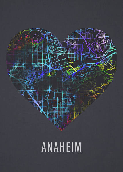 Wall Art - Mixed Media - Anaheim California City Street Map Heart Love Dark Mode by Design Turnpike