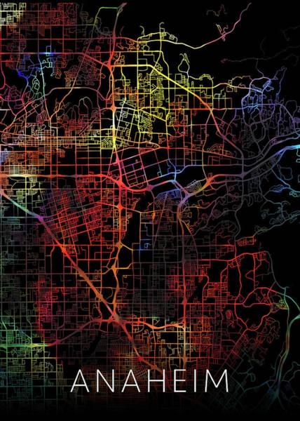 Wall Art - Mixed Media - Anaheim California Watercolor City Street Map Dark Mode by Design Turnpike