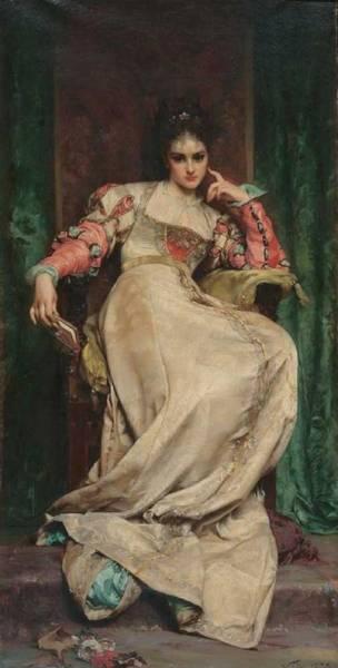 Wall Art - Painting - Anatole Vely 1838-1882, La Meditation by Anatole Vely