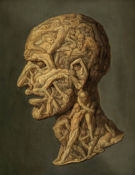 Wall Art - Painting - Anatomical Head, Testa Anatomica, 1854 by Filippo Balbi