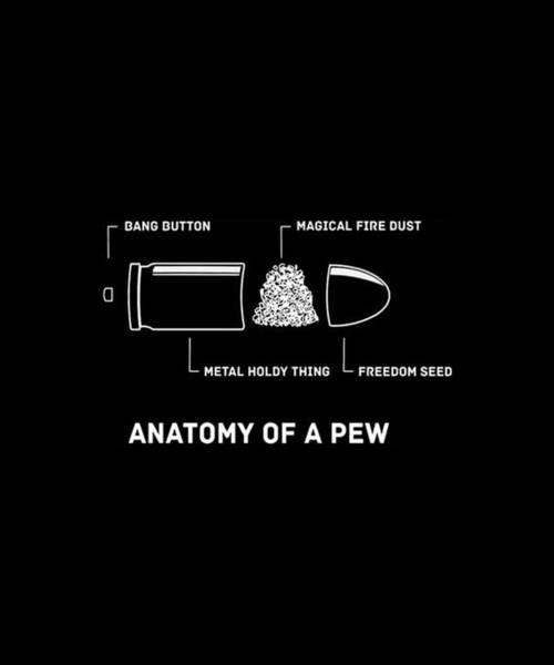 War Bonds Digital Art - Anatomy Of A Pew Gun Rights Molon Labe Funny Pew Pew Life Mens Top Patriotic by Oliver Lane