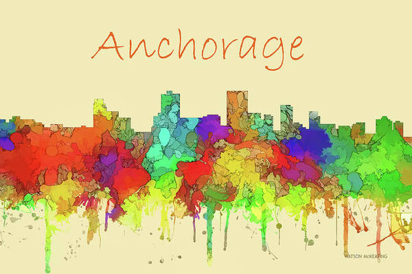 Wall Art - Digital Art - Anchorage City Skyline Watercolor by Marlene Watson