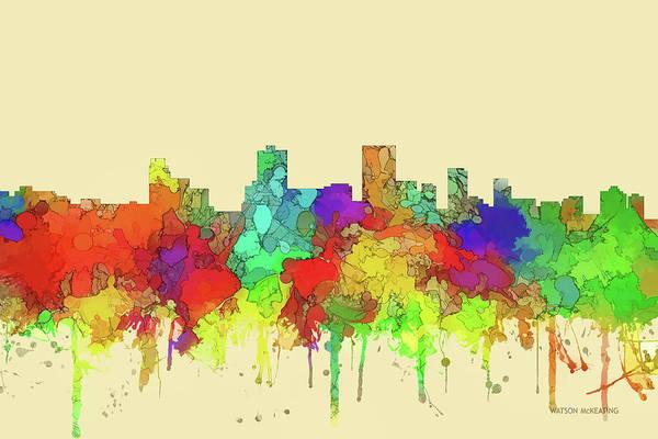 Wall Art - Digital Art - Anchorage City Skyline Watercolor2 by Marlene Watson