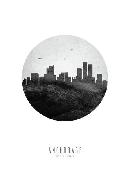 Wall Art - Digital Art - Anchorage Skyline Usakan04 by Aged Pixel