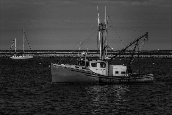 Photograph - Anchored Fishing Troller Bw by Susan Candelario