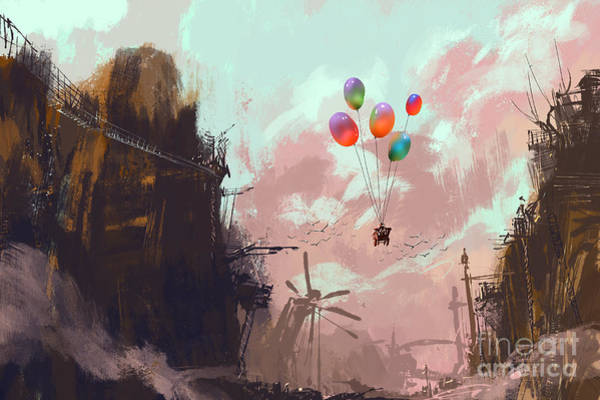 Wall Art - Digital Art - Ancient Car In A Sky With Balloons Over by Tithi Luadthong