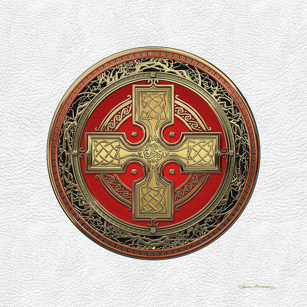 Digital Art - Ancient Celtic Sacred Gold Knot Cross Over White Leather by Serge Averbukh