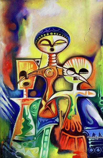 Painting - Ancient Figures by Olumide Egunlae