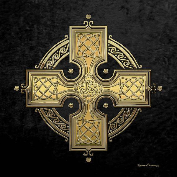 Digital Art - Ancient Gold Celtic Knot Cross Over Black Velvet by Serge Averbukh