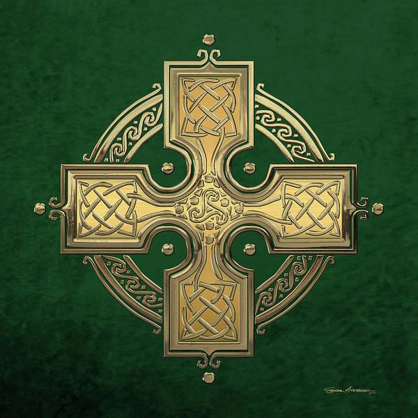 Digital Art - Ancient Gold Celtic Knot Cross Over Green Velvet by Serge Averbukh