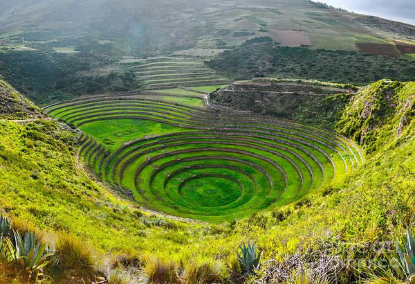 Farmland Wall Art - Photograph - Ancient Inca Circular Terraces At Moray by Vadim Petrakov
