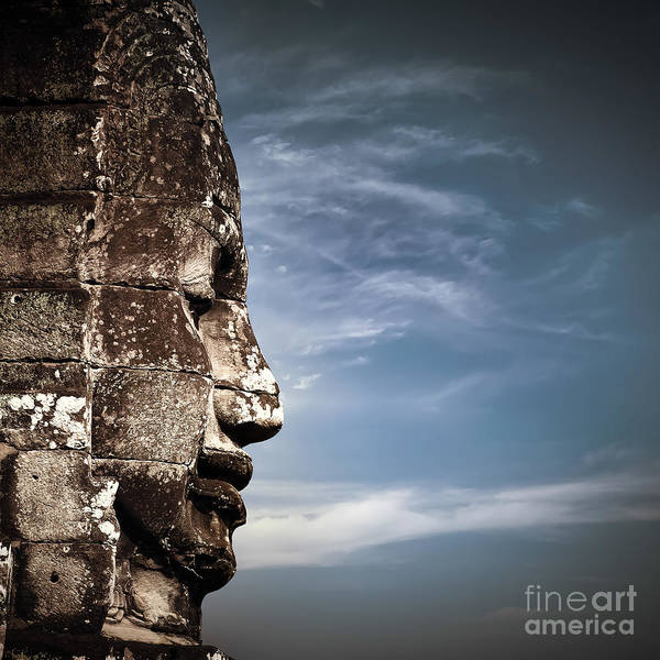 Angkor Wall Art - Photograph - Ancient Khmer Architecture. Huge Carved by Perfect Lazybones