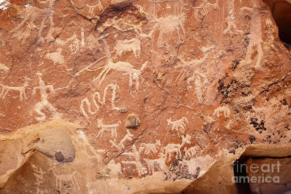 Photograph - Ancient Rock Carvings At Ofragia Chile by James Brunker