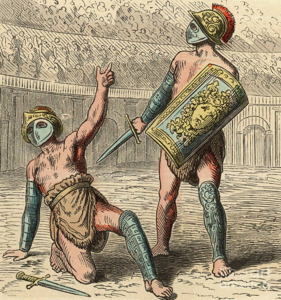 Wall Art - Drawing - Ancient Rome Gladiator Fights In Amphitheater by Heinrich Leutemann