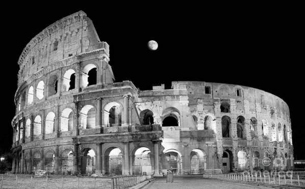 Wall Art - Photograph - Ancient Rome In Black And White - Roman Colosseum At Night by Stefano Senise
