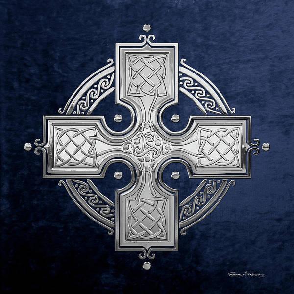 Digital Art - Ancient Silver Celtic Knot Cross Over Blue Velvet by Serge Averbukh