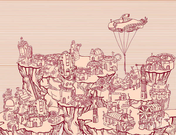 Wall Art - Digital Art - Ancient Steampunk City On The Hills by Ryger