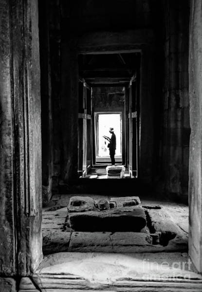 Wall Art - Photograph - Ancient Temple Cambodia Black White  by Chuck Kuhn