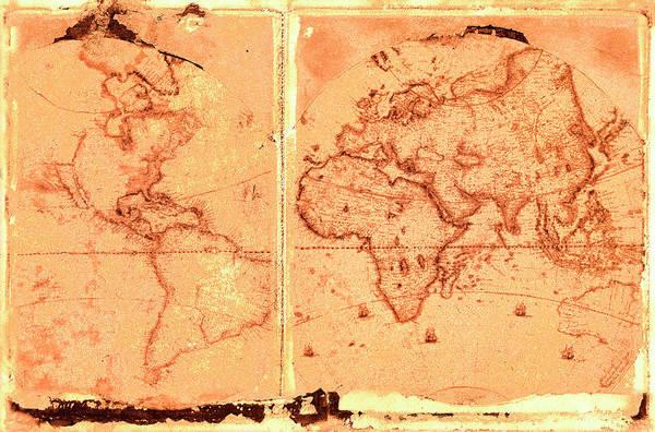 Usa Map Photograph - Ancient World Map by Rob Atkins