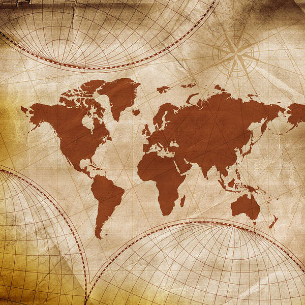 Usa Map Photograph - Ancient World Map by Teekid
