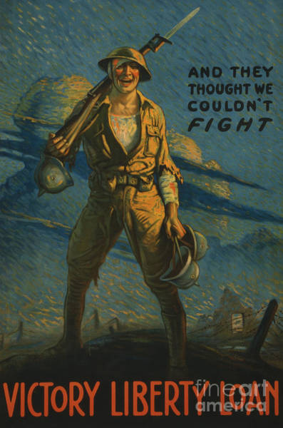 Saving Painting - And They Thought We Couldn't Fight, Poster For The Victory Liberty Loan, 1919 by American School