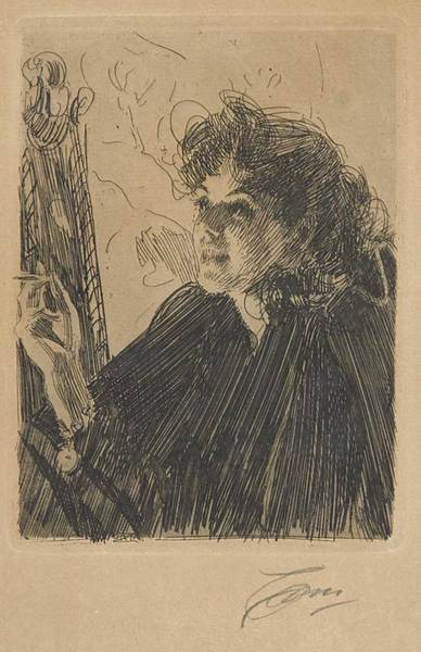 Wall Art - Painting - Anders Zorn 1860-1920 Cigarette Smoke II by Anders Zorn