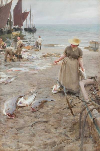 Wall Art - Painting - Anders Zorn,  On The Beach St Ives Cornwall England by Anders Zorn
