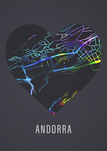 Wall Art - Mixed Media - Andorra California City Street Map Heart Love Dark Mode by Design Turnpike