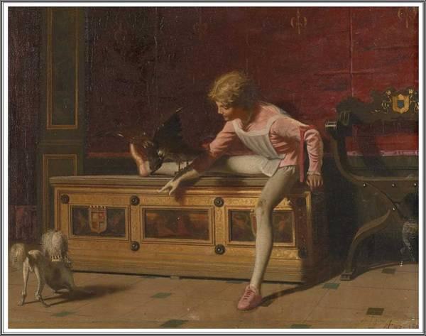 Wall Art - Painting - Andrea Fossati 1844 - 1919, Le Jeune Prince Jouant Avec Son Faucon by Celestial Images