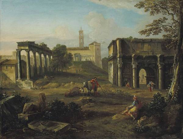 Wall Art - Painting - Andrea Locatelli  Rome 1695-1741    A Capriccio Roman Landscape With The Forum by Celestial Images