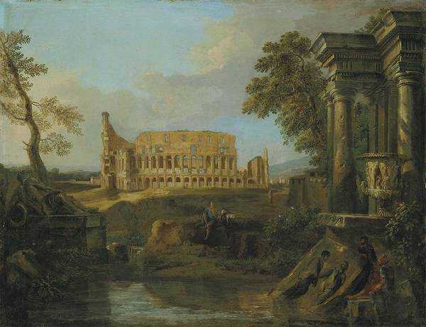 Wall Art - Painting - Andrea Locatelli  Rome 1695-  With The Colosseum  by Celestial Images