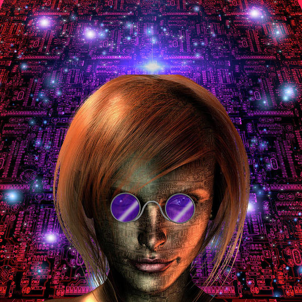 Wall Art - Photograph - Android Girl In Purple Glasses by Bruce Rolff
