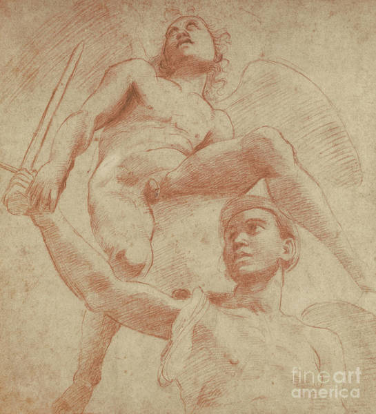Male Figure Drawing - Angel And A Figure Representing The Planet Mars by Raphael