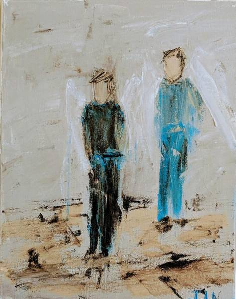 Painting - Angel Boys On A Dirt Road by Jennifer Nease