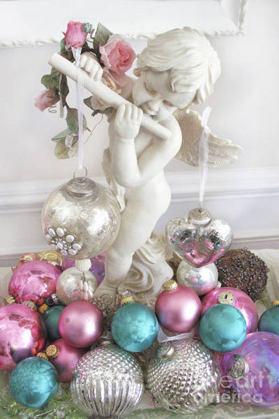 Angelic Photograph - Angel Cherub Playing Flute With Christmas Holiday Ornaments - Shabby Chic Holiday Christmas Angel by Kathy Fornal