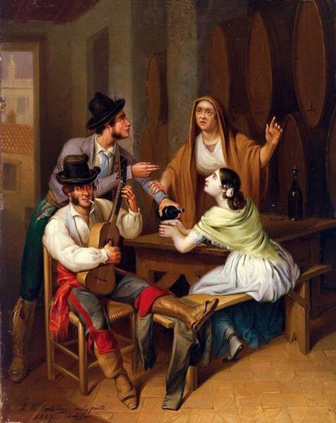 Wall Art - Painting - Angel Maria Cortellini Hern Andez No More Wine. Tavern Scene 1847 by Celestial Images