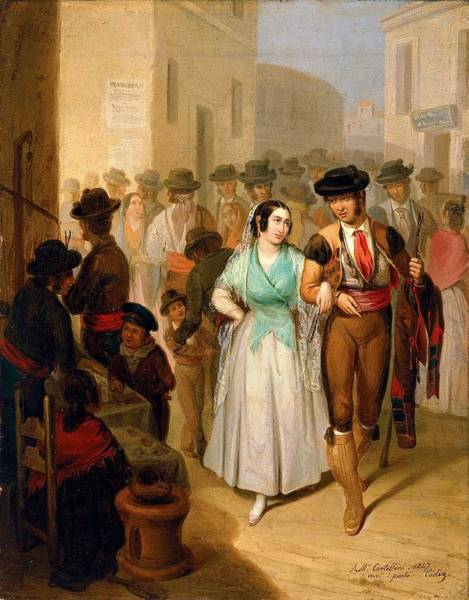 Wall Art - Painting - Angel Maria Cortellini Hernandez Leaving The Bullring 1847 by Celestial Images