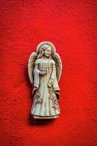 Wall Art - Photograph - Angel On Red Wall by Garry Gay