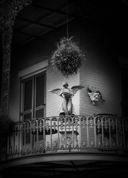 Wall Art - Photograph - Angel On The Balcony In Black And White by Greg and Chrystal Mimbs