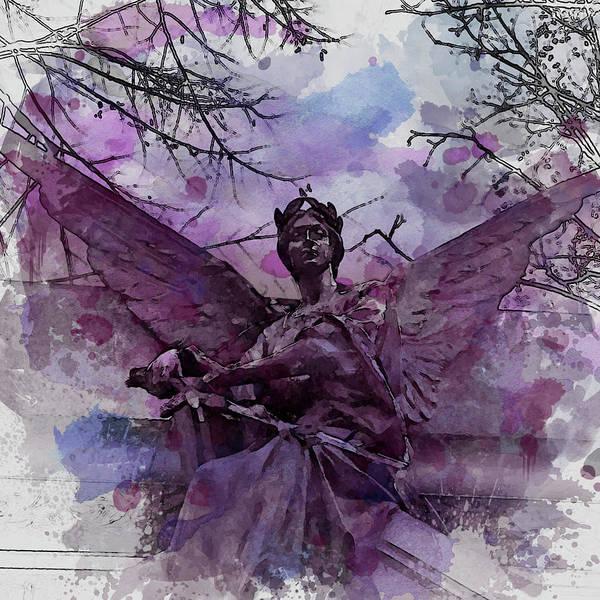 Valkyrie Digital Art - Angel Open Wings And Sword by Mira Minerva