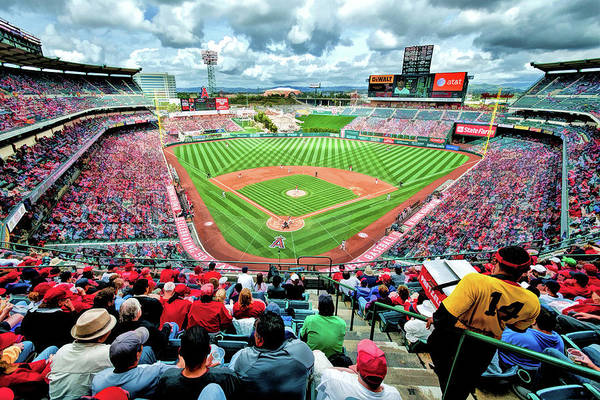 Painting - Angel Stadium Los Angeles Angels Baseball Ballpark Stadium by Christopher Arndt