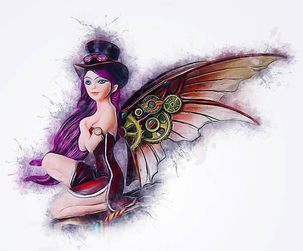 Digital Art - Angel Steampunk by Ian Mitchell