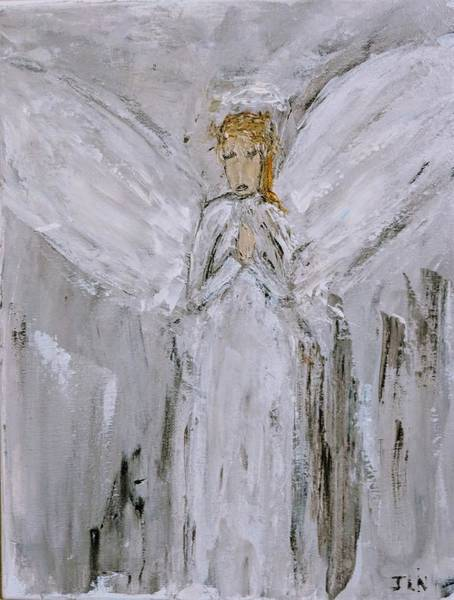 Painting - Angel With Her Pet by Jennifer Nease