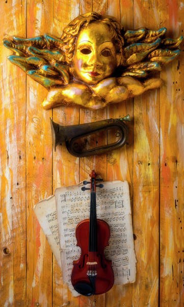 Wall Art - Photograph - Angel With Horn And Violin by Garry Gay