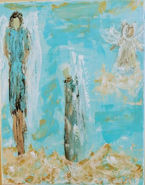 Painting - Angels Appear On Golden Clouds by Jennifer Nease